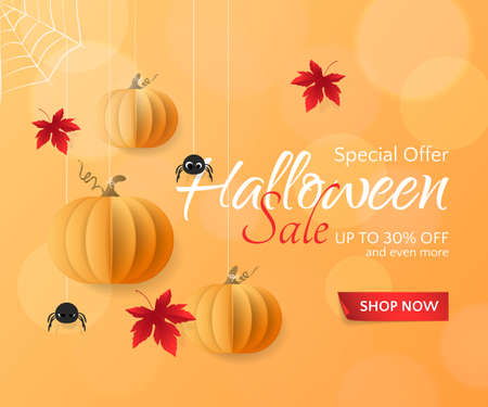 Vector template for Halloween Sale banners and posters. Holiday orange background with paper pumpkins, spiders and red maple leaves for discount and special offers. With place for text.