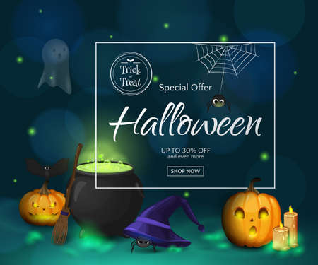 Vector Halloween sale poster with frame and cartoon cute scene with pumpkins,, ghost, witch's hat, broom, cauldron. Holiday background for design flyers and banners with discounts offers.