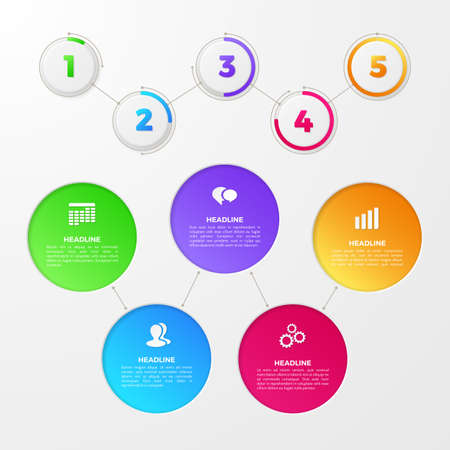 Infographic with colored numbers of steps on circles, icons of team, clock, date. Vector template for annual report, diagram and workflow chart. Timeline layout with 5 options for work process design.&xD;&xA;