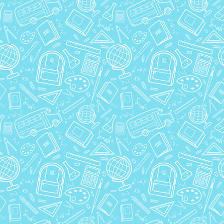 Vector seamless simple pattern with school items (backpack, pencil, notebook, ruler, globe, bus). Back to school blue background for printing on fabric, paper for scrapbooking, gift wrap, wallpapers.