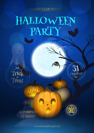 Vector illustration for design flyers and posters for Halloween party with cartoon pumpkins, headstone, tree, spiders, ghost, moon and silhouette of bats.