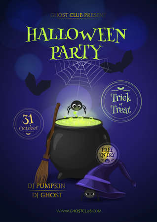 Vector illustration for design banners and posters for Halloween party with cartoon witch's hat, broom, cauldron, spiders and silhouette of bats.