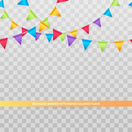 Vector seamless border with paper party banner of colored flags. Holiday garlands for design birthday cards and invitations. Isolation from the transparent background.