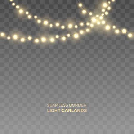 Wektor bezszwowe krawędź pozioma realistyczne żółte girlandy świetlne. Świąteczna dekoracja z błyszczącymi lampkami bożonarodzeniowymi. Świecące żarówki o różnych rozmiarach na przezroczystym tle.