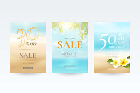 Vector set of banners for summer sale with beach, sea, waves, palm leaves and tropical flowers. Travel background with plumeria and blurred effect for discount offers. File contains clipping mask.