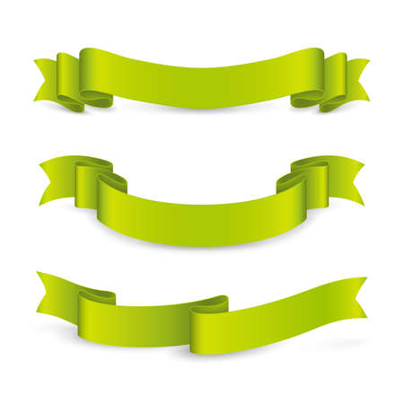 Set of curved green ribbons. Vector realistic elements for banners and promotional flyers. Isolated from the background.