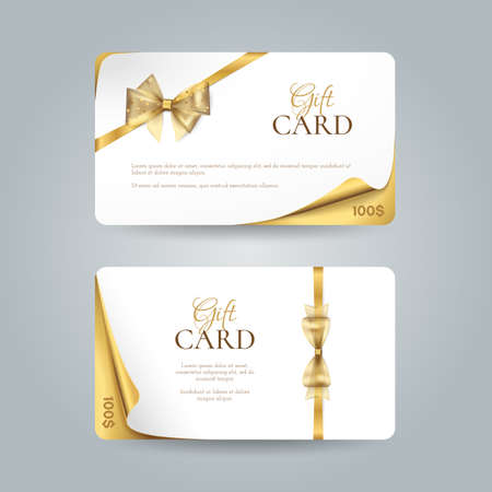 Vector set of elegant gift cards with curved corners, golden bows and ribbons. Luxury template for gift vouchers, coupons and certificates. Isolated from the background.