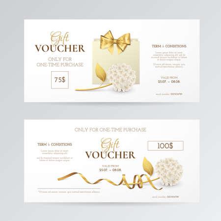 Vector conjunto de vales de regalo elegante con hortensia, bolsa de compras de papel, lazo dorado y cinta. Plantilla de lujo para tarjetas de regalo, cupones y certificados con flores. Aislado del fondo. Foto de archivo - 88405137