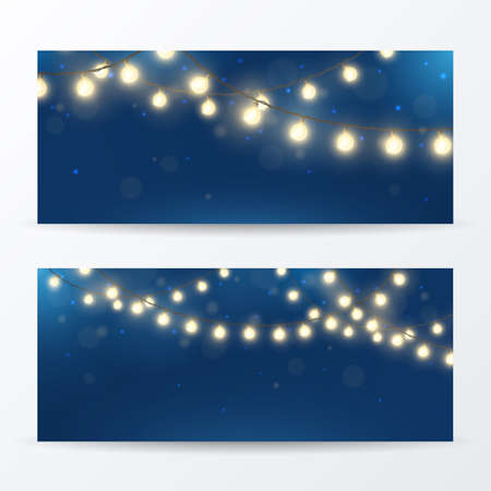 Vector set of horizontal banners with realistic light garlands. Festive background with shiny Christmas lights. Glowing bulbs with effect bokeh.&xD;&xA;
