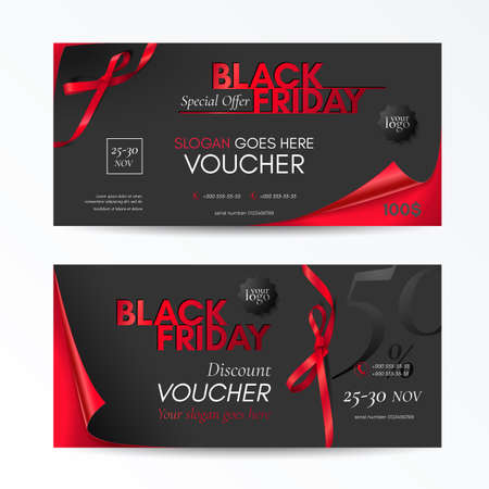 Vector set of modern discount vouchers for black friday sale with curved corners, red small bows and ribbons. Template for gift cards, coupons and certificates. Isolated from the background.