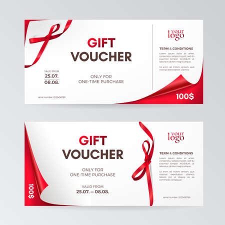 Vector set of modern gift vouchers with curved corners, red small bows and ribbons. Layout for gift cards, coupons and certificates. Isolated from the background.