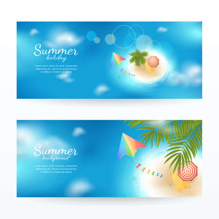 Vector set of summer horizontal backgrounds with top view of tropical island with beach, sea, waves, palm tree, kite, beach umbrella, towel and flip flops. Travel scene for design banners and flyers.