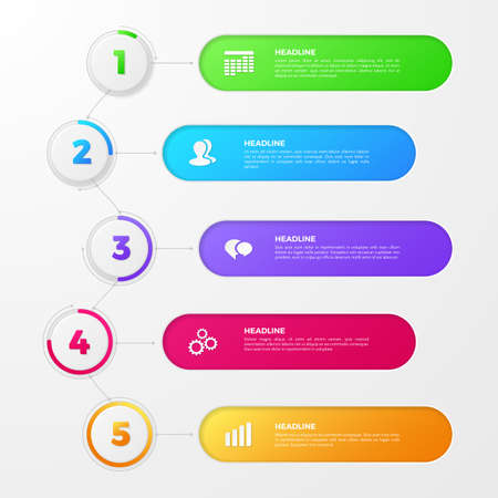 Timeline infographic with colored numbers of steps on circles, icons of team, clock, date. Vector layout for annual report, diagram and workflow chart. Template with 5 options for work process design&xD;&xA;