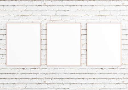Triple 8x10 Vertical Pink Frame mockup on white brick wall. Empty picture frame mockup on white brick background. 3D Rendering.