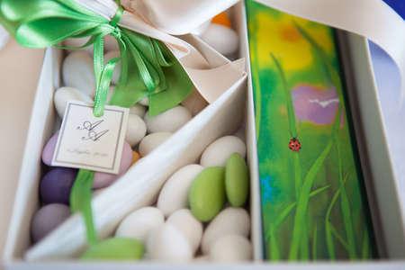 Wedding Confetti and Ladybug Stock Photo