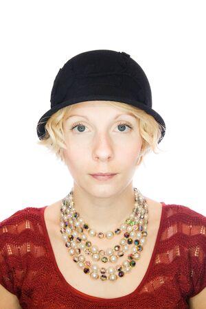 Beautiful serious lady portrait photo