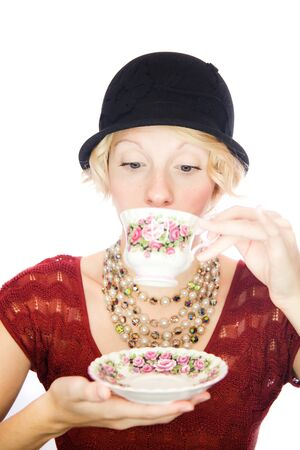 snob: Beautiful lady portrait drinking tea Stock Photo