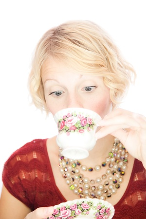 Beautiful lady portrait drinking tea photo