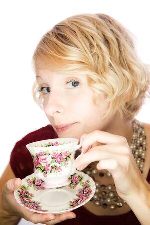 Beautiful lady portrait drinking tea Stok Fotoğraf