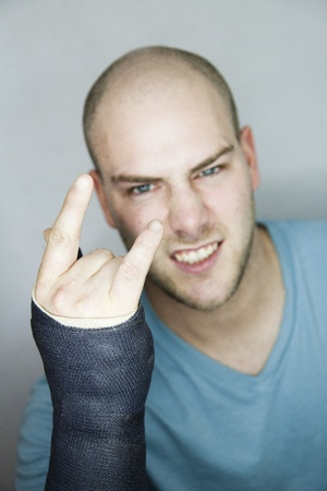 shaved head: Rock-on ! Stock Photo