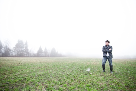 non cultivated land: In the foggy field Stock Photo