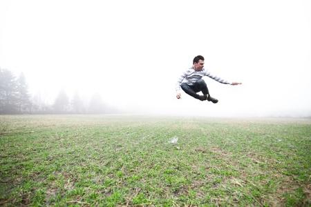 non urban 1: In the foggy field Stock Photo