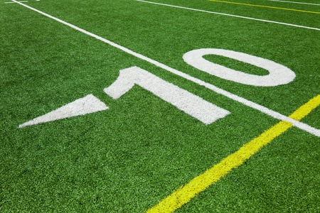 superbowl: Ten yard line - football Stock Photo
