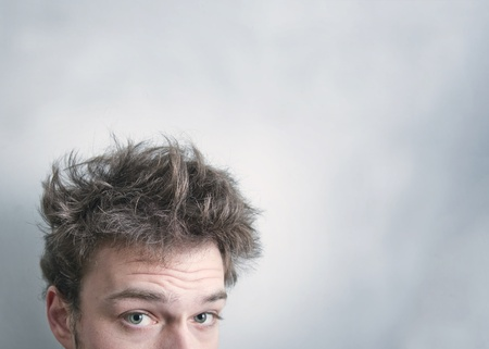 messy hairstyle: I need a hair cut ! Stock Photo