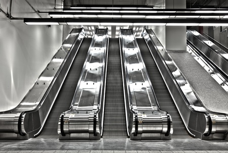 moving down: Sets of Working Escalator - editorial Editorial