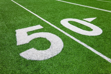 fifty yard line - football field photo