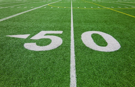 american football field: fifty yard line - football field Stock Photo