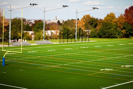 american football background: Outdoor Football field in a public park Stock Photo