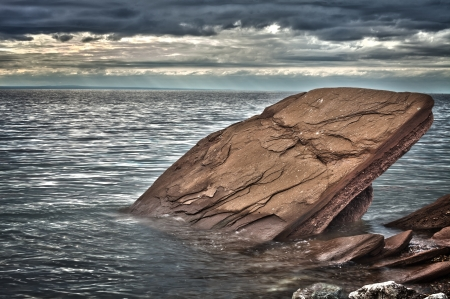 Rock in the Gaspe bec, Canade (hrd image) photo