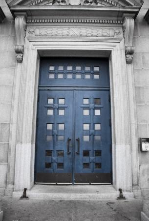 oratorio: St-Joseph Oratorio, porta blu Archivio Fotografico