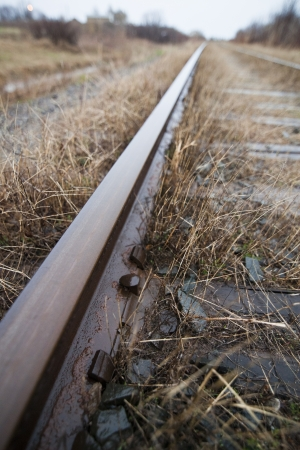 diffused: Train track details with natural diffused sun ligh Stock Photo