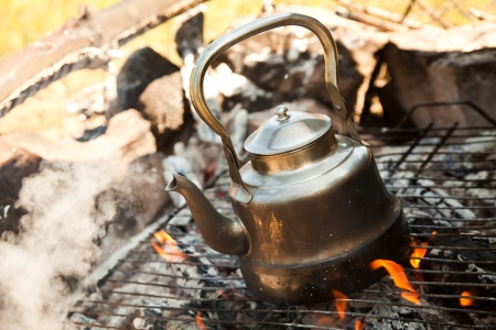 teakettle: Kettle with water heated on the fire