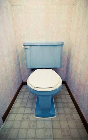 Blue flush toilet in a little vintage restroom Stock Photo - 18863187