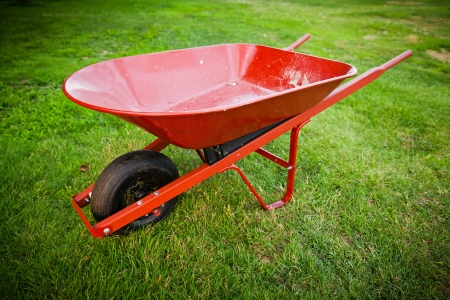 barrow: Red wheelbarrow in the middle of the lawn