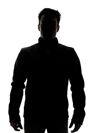 shadow: Male figure in silhouette wearing a vest isolated on white background Stock Photo