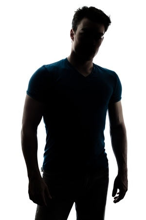 Fashionable male figure in silhouette isolated on white background Stock Photo
