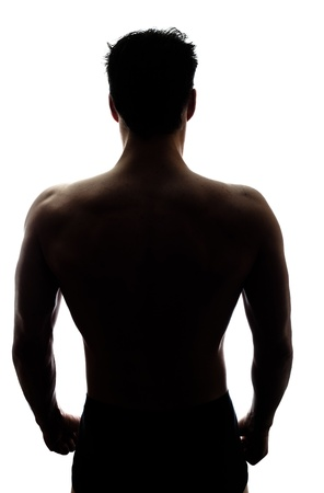 mystery man: Muscular mans back in silhouette isolated on white background Stock Photo