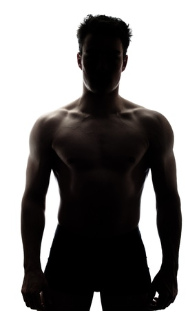 shadow: Muscular man in silhouette isolated on white background