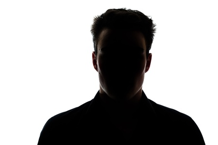 shadow: Man figure in silhouette isolated on white background