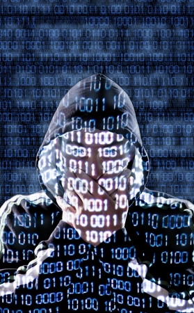 Censored hacker with binary codes in background Stock Photo