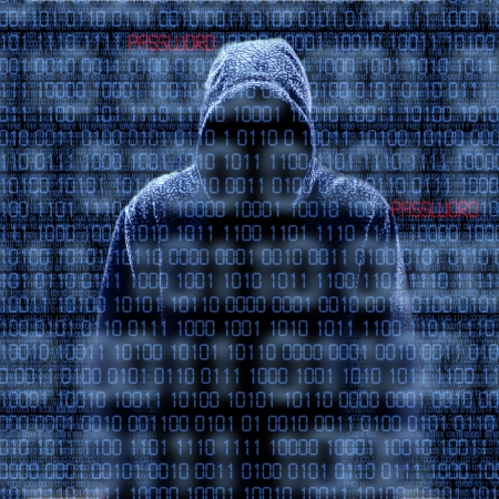 thieves: Silhouette of a hacker isloated on black with binary codes on background Stock Photo