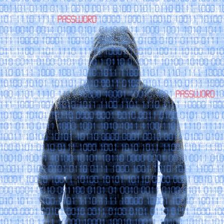 배경에 이진 코드와 함께 흰색에 Isloated는 해커의 실루엣 스톡 콘텐츠