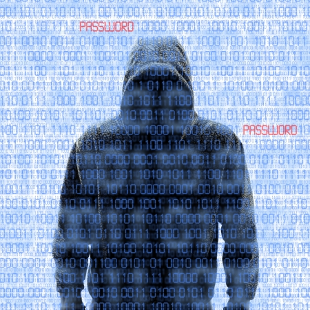 phishing: Silhouette of a hacker isloated on white with binary codes on background Stock Photo