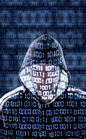 directly: Hacker with binary codes looking directly to the camera