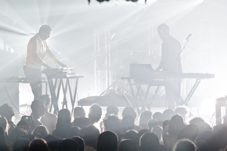 signer: MONTREAL, QUEBECCANADA, MAY 9 2013: The presets,consisting of Julian Hamilton on vocals and keyboards and Kim Moyes on drums and keyboards, in concert in Montreal at the National.
