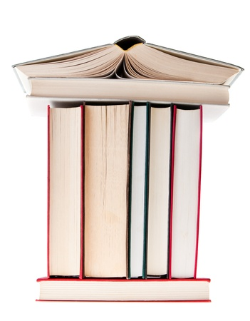 Books with the shape of a construction of uilding photo